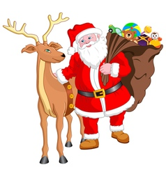 Santa and Reindeer with Gift vector