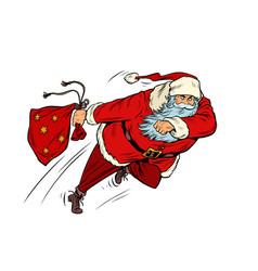 Santa claus is running with a gift bag christmas vector