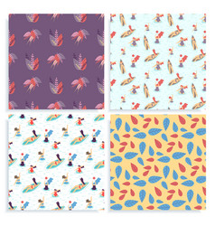 seamless body positive active summer pattern set vector image