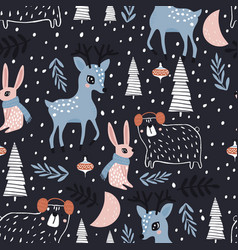 Seamless winter pattern with dear bunny bear and vector