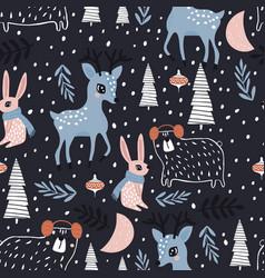 Seamless winter pattern with dear bunny bear vector