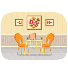 served table with pizza and takeaway coffee vector image