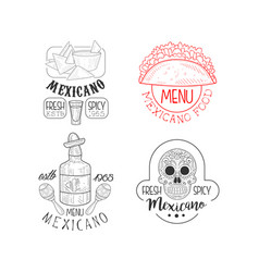 set of monochrome mexican logos sketch style vector image