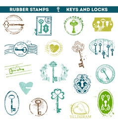 Set of Rubber Stamps - Antique Keys and Locks vector image