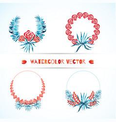 Set of wedding tropical wreaths vector