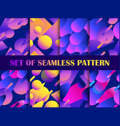 set seamless pattern with colorful liquid vector image