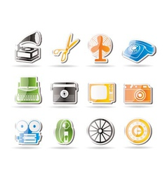 simple retro business and office object icons vector image