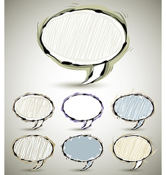 Sketch style speech bubbles vector image