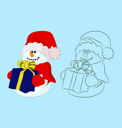 snowman with gift color and outline vector image