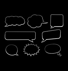 speech bubbles hand drawn sketch on black vector image