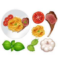 Steak and pasta on the plate vector