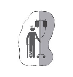 Sticker monochrome pictogram bandaged person vector