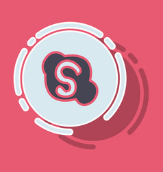 sticker unusual look skype logo vector image