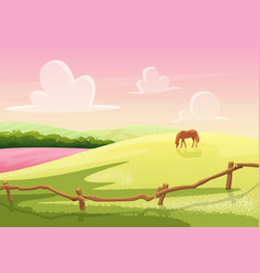 summer cute sunny cartoon rural glade hills view vector image