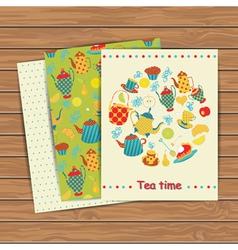 Tea time card set vector image