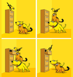 the dog cat and bird are looking in the cupboard vector image