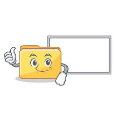 Thumbs up with board folder character cartoon vector