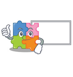 thumbs up with board puzzle character cartoon vector image