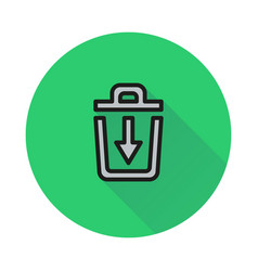 trash bin icon on round background vector image