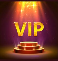 vip podium with lighting stage podium scene vector image
