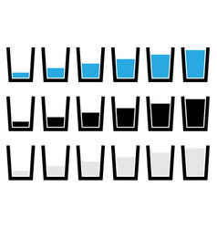 Water glass symbols pictograms - empty half full vector