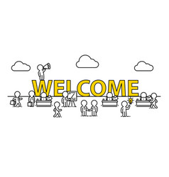 Welcome text work office with people vector
