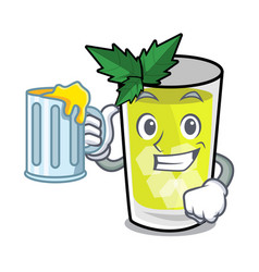 With juice mint julep mascot cartoon vector