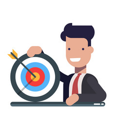 young businessman or manager with a target in hand vector image