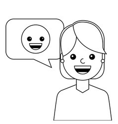 young woman happy with emoticon avatar character vector image