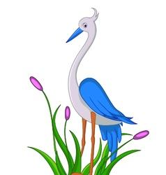 cute little heron cartoon vector image vector image