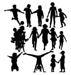 Happy Children Recreation and Activity Silhouettes vector image