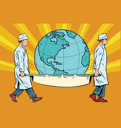medics carry the planet earth on a stretcher vector image vector image