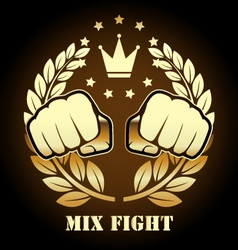 Mix fight competition emblem with two fists vector image vector image