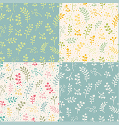 set of floral seamless pattern with leaves vector image vector image