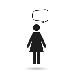 woman black icon and speech bubble vector image vector image