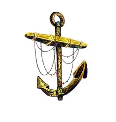 Anchor and beads vector image vector image