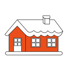 color silhouette image cartoon christmas house vector image