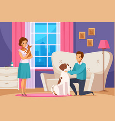 family couple with pets at home vector image