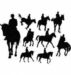 horse rider silhouettes vector image vector image