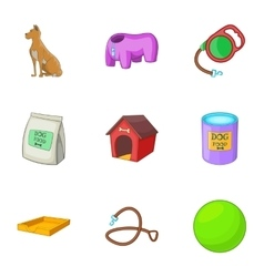 Dog care icons set cartoon style vector image vector image