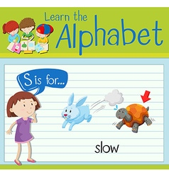 Flashcard letter s is for slow vector