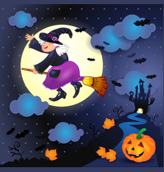 halloween night with old witch castle and pumpkin vector image