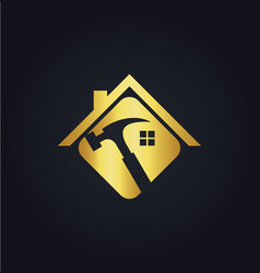 home renovation tool gold logo vector image vector image