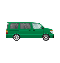 isolated green minivan in simple cartoon style vector image vector image