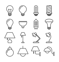 Lamp line icons vector