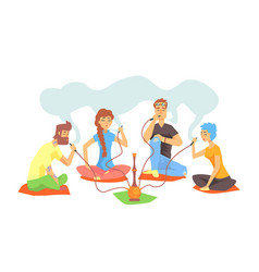 young cool hipsters smoking hookah sitting on the vector image