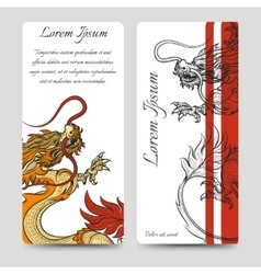 Brochure flyers template with chinese dragon vector