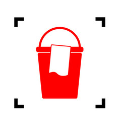 bucket and a rag sign red icon inside vector image