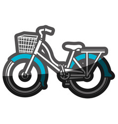 color silhouette with classic bicycle with basket vector image vector image