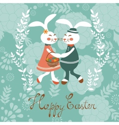 Easter card with cute rabbits couple vector image vector image